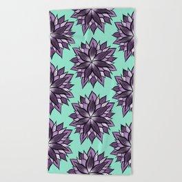 Purple Mandala Like Abstract Flower Beach Towel