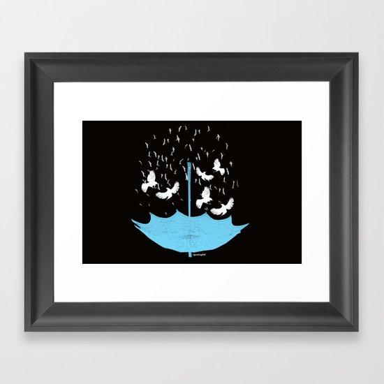 Umbrella Birds Framed Art Print