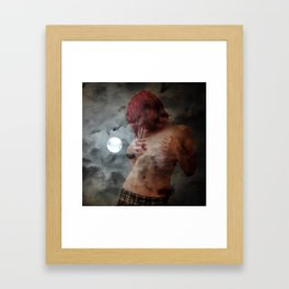 The night swallows the day Her lips find a way Framed Art Print