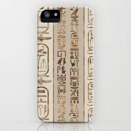 Egyptian hieroglyphs Pastel Gold iPhone Case