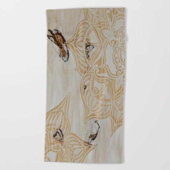 White Wash Mandala Beach Towel