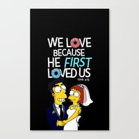 simpson Canvas Prints featuring Simpson love by LOVEcm