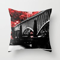 pittsburgh Throw Pillows featuring Pittsburgh Bridge by Layne Andrews