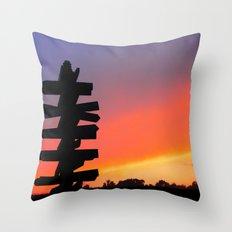 Signpost Sunset Throw Pillow