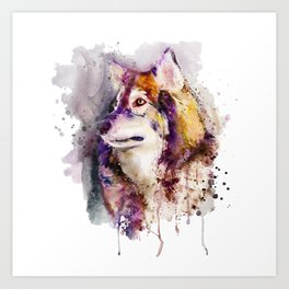 Watercolor Wolf Portrait Art Print