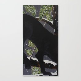 2/3 Panther In Snow Forest (3-Piece) Canvas Print