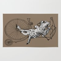 steam punk Area & Throw Rugs featuring Steam Punk Tabby Cat by Rebecca Pocai