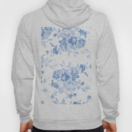 Modern navy blue white watercolor elegant floral Hoody