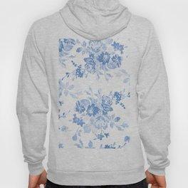Modern navy blue white watercolor elegant floral Hoody