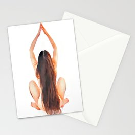 6828s-JAL Long Hair Nude Model Avonelle Rear View Rapunzel Rendered as Watercolor by Chris Maher Stationery Cards