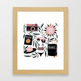 Vacation Time Illustration // Hand drawn Camera, Bikini, Straw Hat, Sunglasses // Vintage Resort Framed Art Print