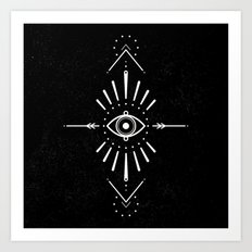 Evil Eye Monochrome Art Print