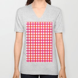 Gingham: Strawberry Flavor Unisex V-Neck