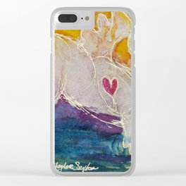 pink golden heart horse pony watercolor by CheyAnne Sexton Clear iPhone Case