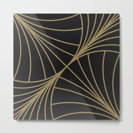 Diamond Series Round Wave Gold on Charcoal Metal Print