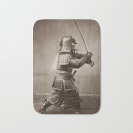Samurai Brandishing His Sword - Japanese History Bath Mat