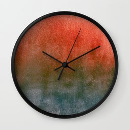 rusty teal watercolor Wall Clock