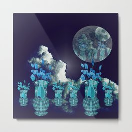 Moon with Clouds and Flowers Still Life Landscape Metal Print