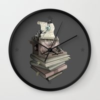 bookworm Wall Clocks featuring Bookworm by BlancaJP