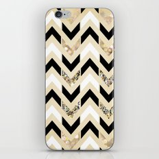 Black, White & Gold Glitter Herringbone Chevron on Nude Cream iPhone & iPod Skin