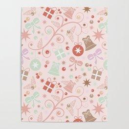 Seamless pastels Christmas pattern Poster