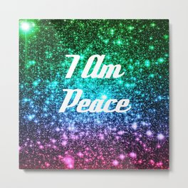 Peace Affirmation Galaxy Sparkle Stars Metal Print