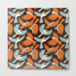 Chickadees in Brown Metal Print