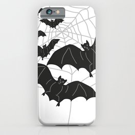 Black Bats with Spider Web Halloween iPhone Case