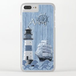 Ahoy - Maritime blue Clear iPhone Case