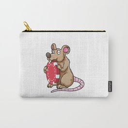 Beautiful rat is nibbling on a poker chip Carry-All Pouch
