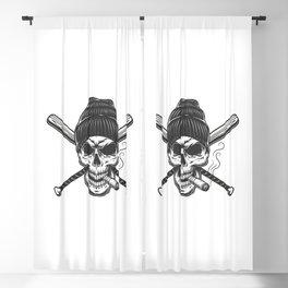 Vintage Gangster Skull Beanie Hat Blackout Curtain