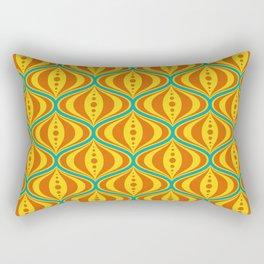 Retro Psychedelic Saucer Pattern in Orange, Yellow, Turquoise Rectangular Pillow