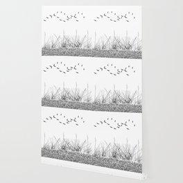 black and white winter landscape Wallpaper