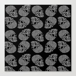 Skull doodle pattern - white on black Canvas Print