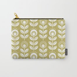 SCANDI GARDEN 01-4, white on mustard yellow Carry-All Pouch