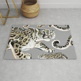 Snow leopard in grey Rug