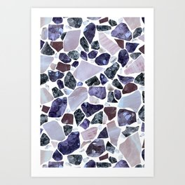 Gemstone Mosaic - White Grout Art Print