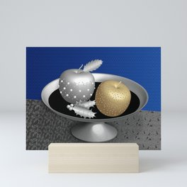 Gold and Silver Christmas Apples on a Silver Pedestal Mini Art Print