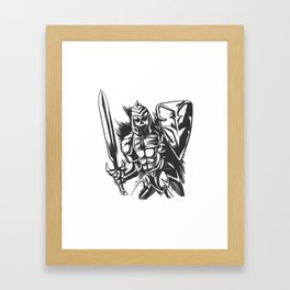 Skeleton knight illustration Framed Art Print