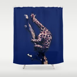 Blue Giraffe In The Tree ?! Shower Curtain