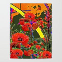MODERN  ORIENTAL STYLE FLOWERS GREEN GARDEN DESIGN Poster