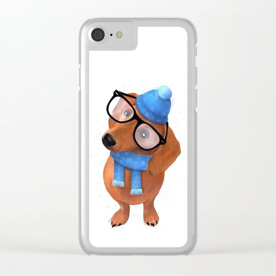 Smart Dachshund Clear iPhone Case