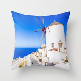 Santorini windmill Throw Pillow