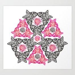 Pop pink and black butterflies Art Print