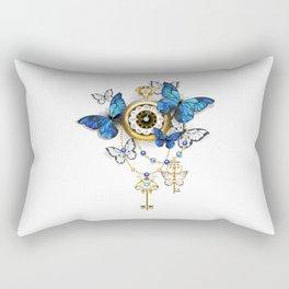 Antique Clock with Butterflies Morpho Rectangular Pillow