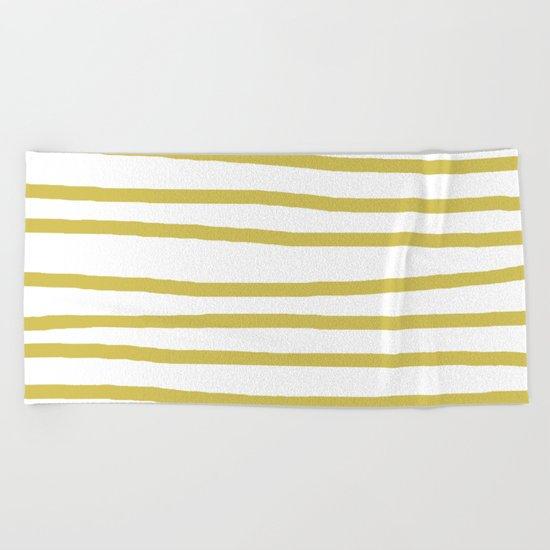 Simply Drawn Stripes Mod Yellow on White Beach Towel