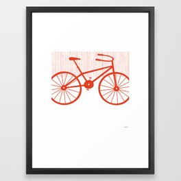 Red Bike by Friztin Framed Art Print