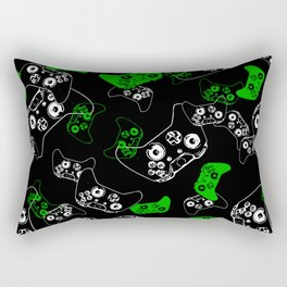 Video Game Black & Green Rectangular Pillow
