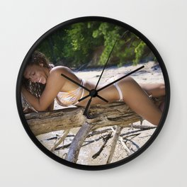 Laughing and Lying on a Tree Branch Wall Clock