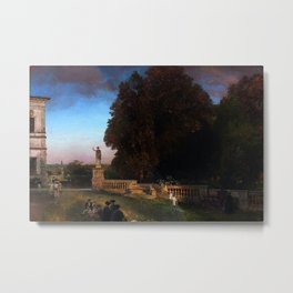 In the Park of the Roman Villa Borghese Rome Italy by Oswald Achenbach Metal Print